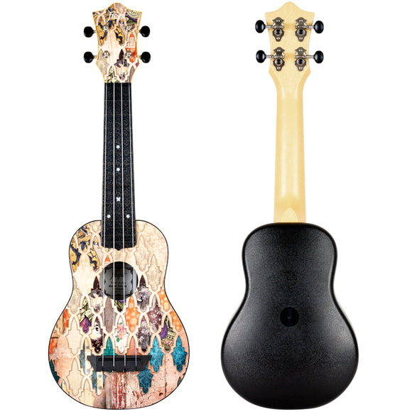 FLight Travel Uke, Wooden Artistic Front Design, ABS body inc Cover