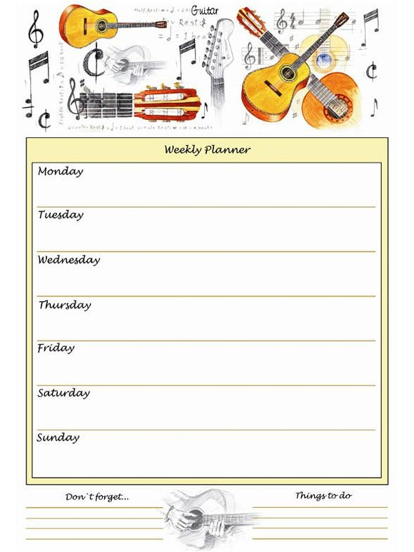 A4 Music Themed Weekly Planner