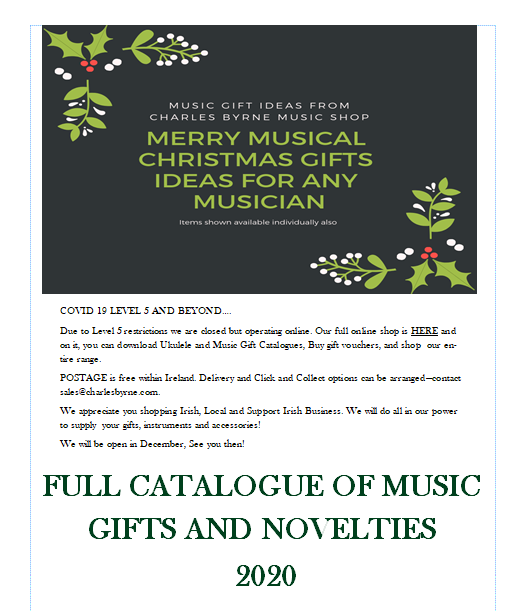 FREE Music GIfts and Novelties 2020 Catalogue