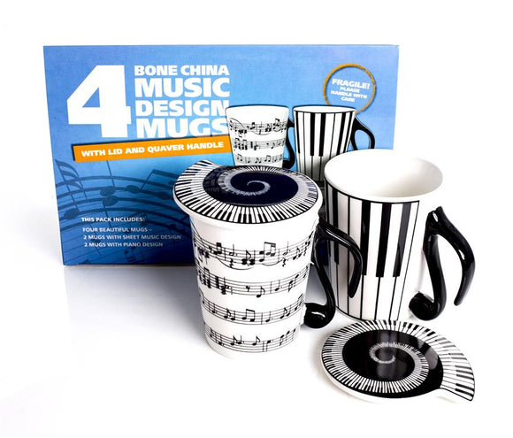 Boxed Set of 4 Music Design Mugs with lids
