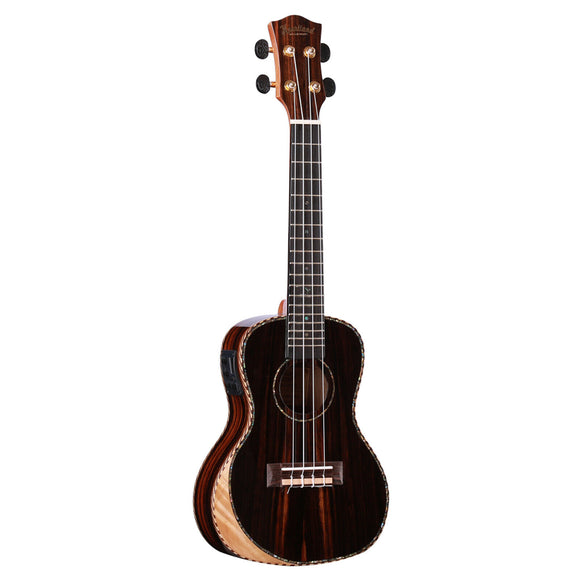 New! Heartland Striped Ebony Tenor EQ Ukulele