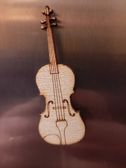 Violin Fridge Magnet, natural Wood Finish