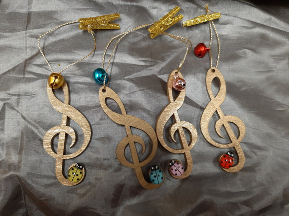 NEW!! Handmade Xmas Tree Music Ornaments with LADYBIRD