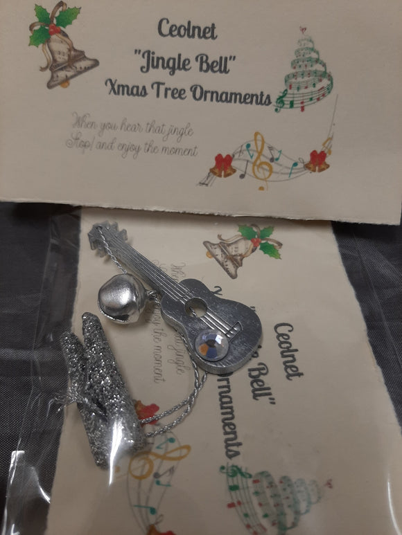 New! Xmas Tree Music Ukulele ornament, Silver