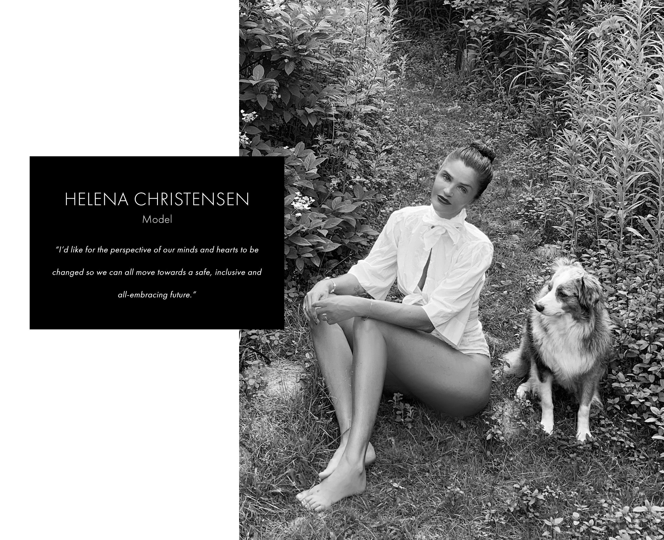 Helena Christensen in white blouse with dog
