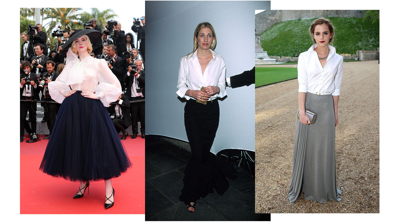 Women wearing white blouse with maxi skirt