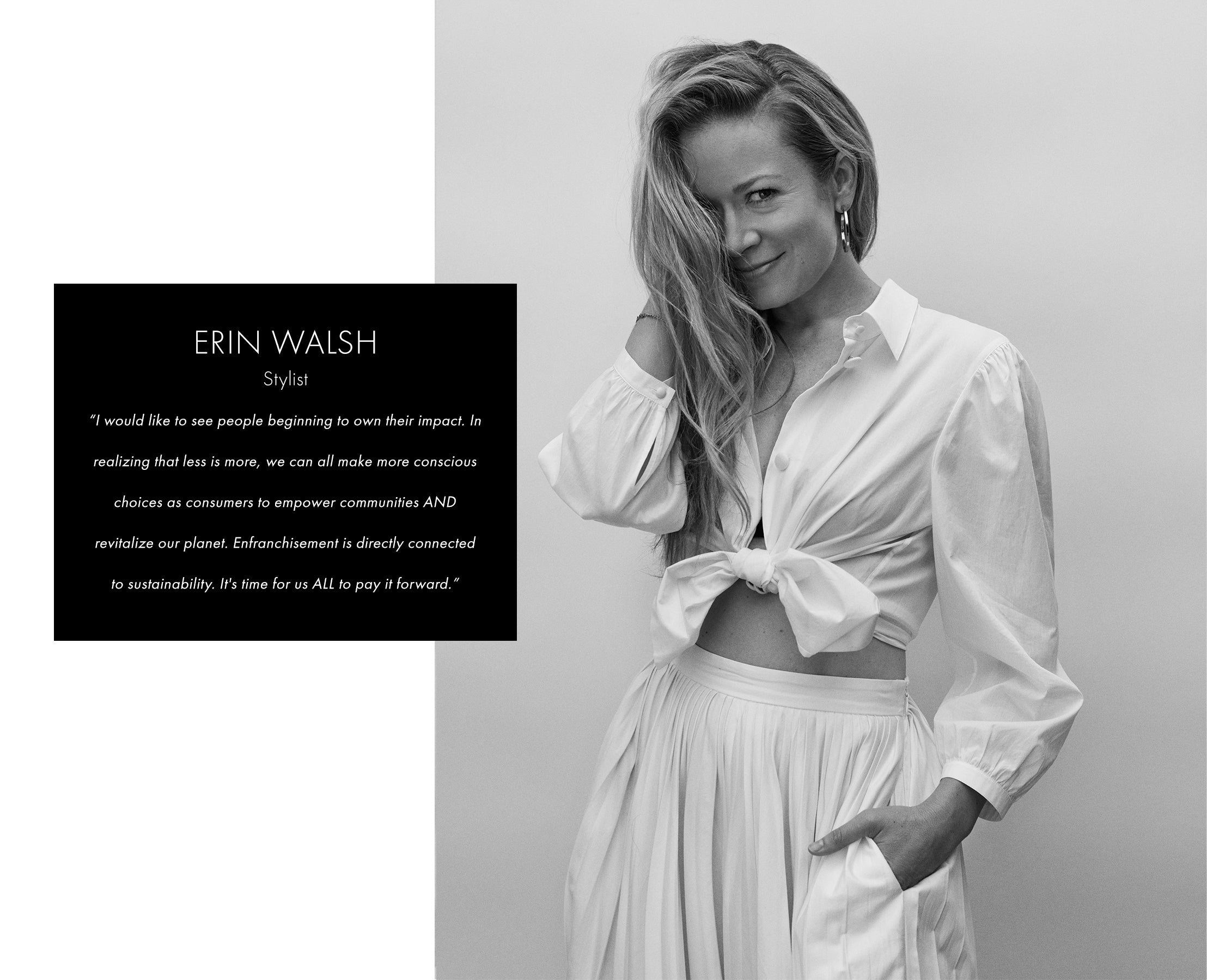 Erin Walsh in white button down tied up