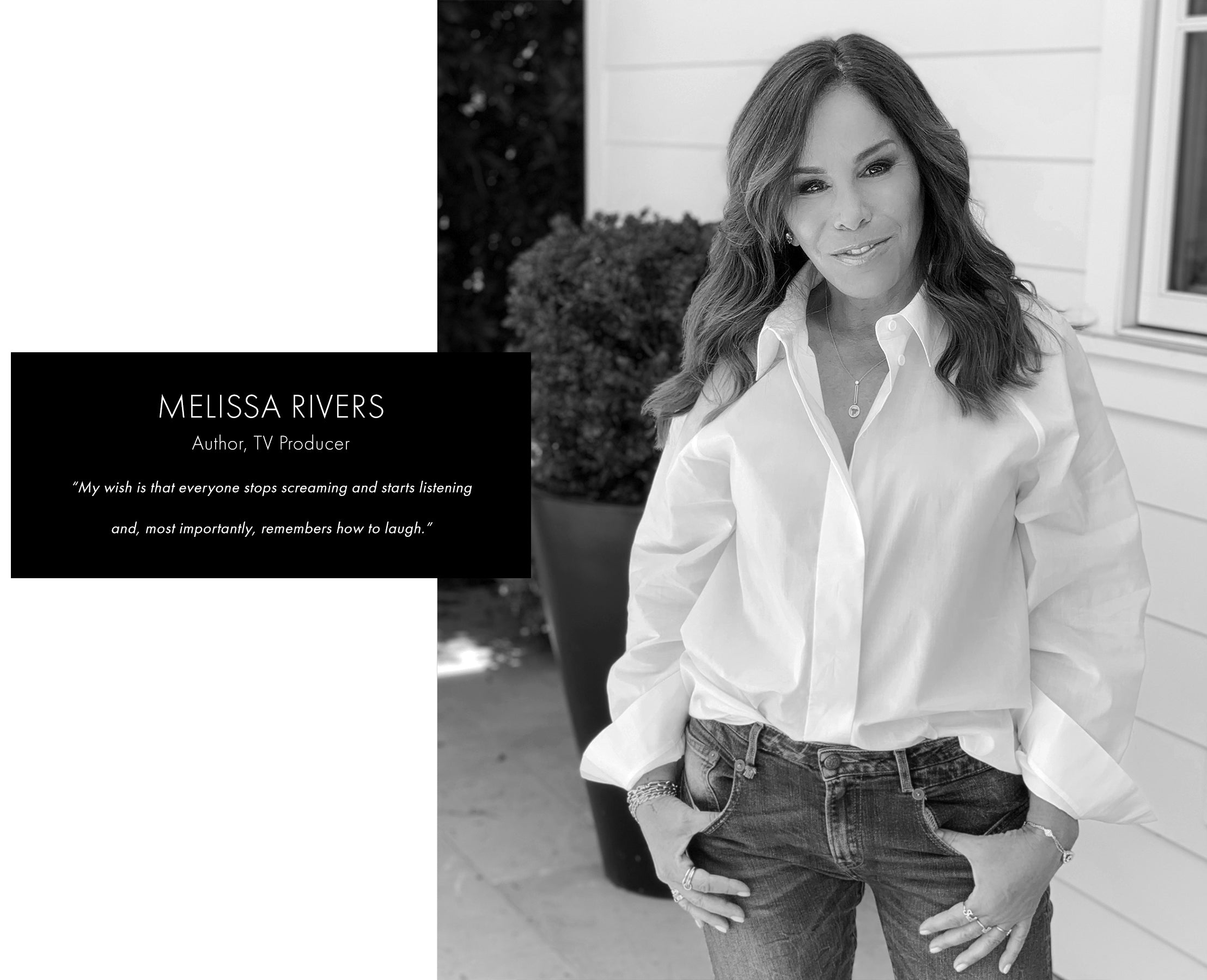 Melissa Rivers in white button down and jeans