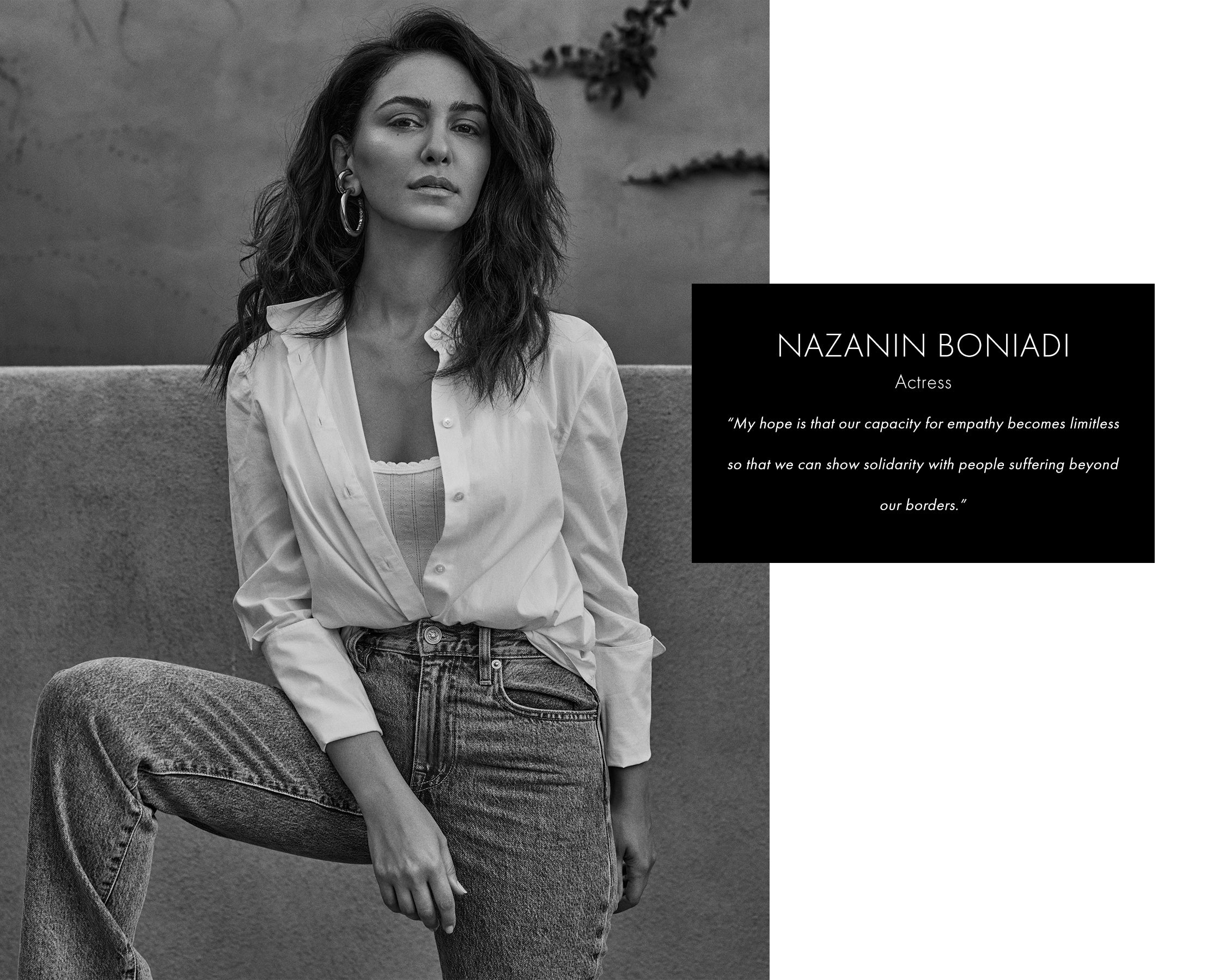 Nazanin Boniadi in white button down and jeans