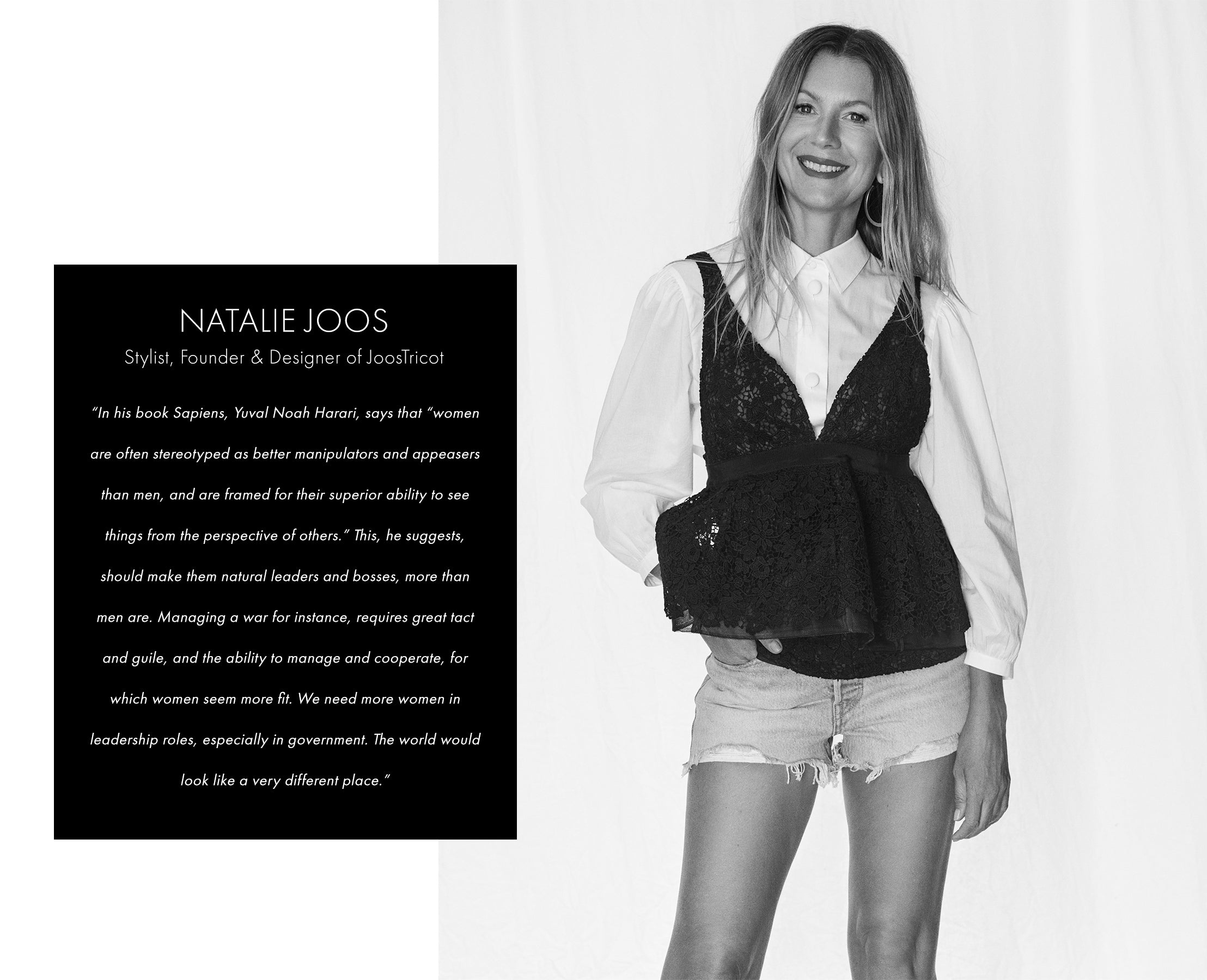 Natalie Joos in white button down and black lace camisole