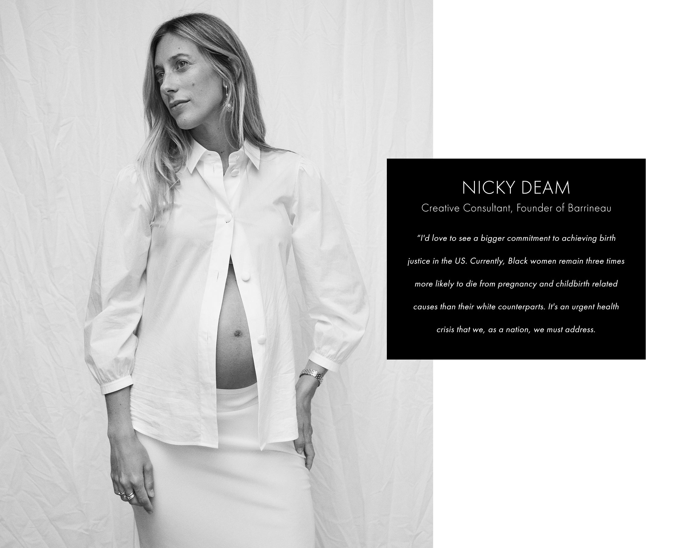 Nicky Deam in white button down pregnant