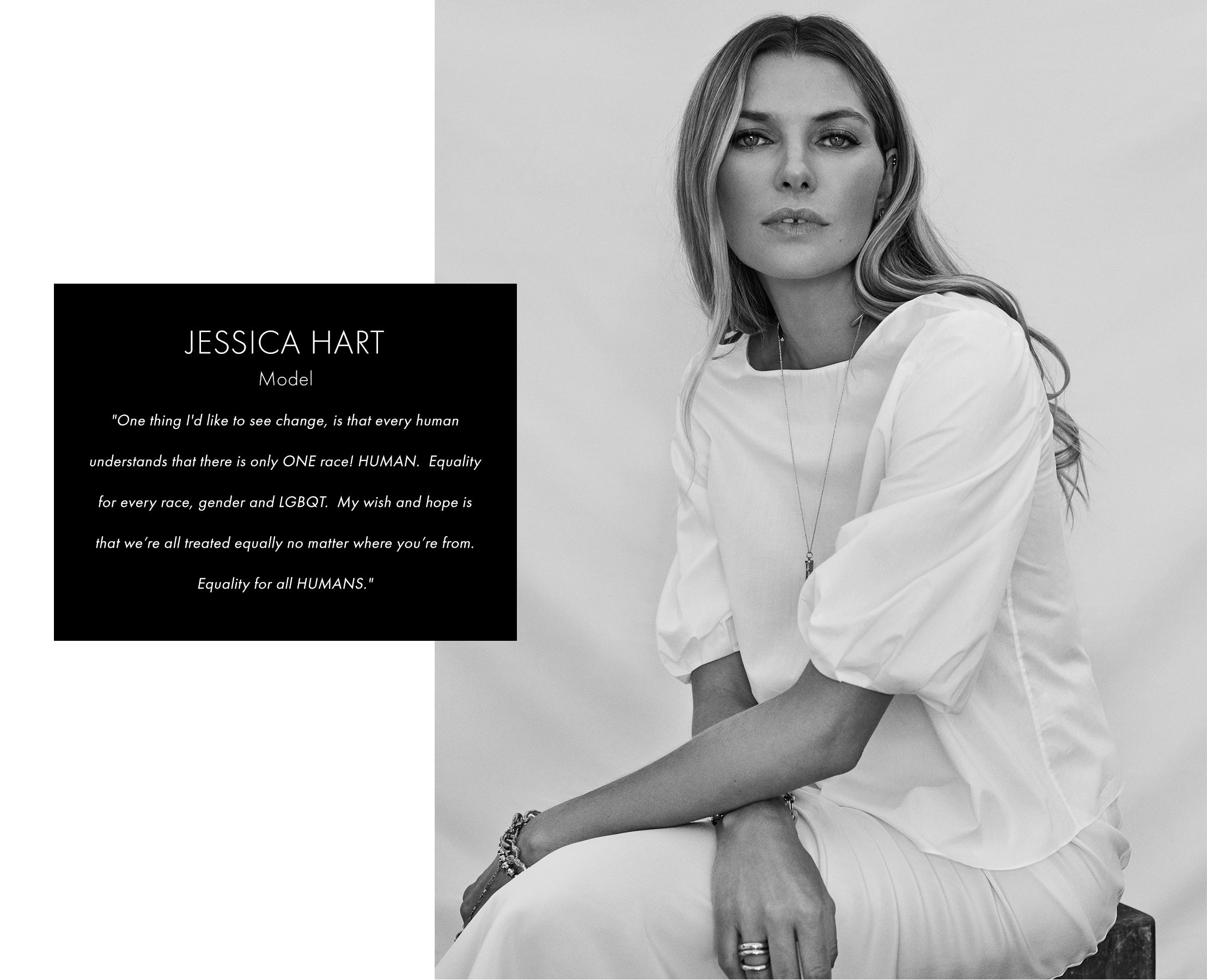 Jessica Hart in white puff sleeve blouse
