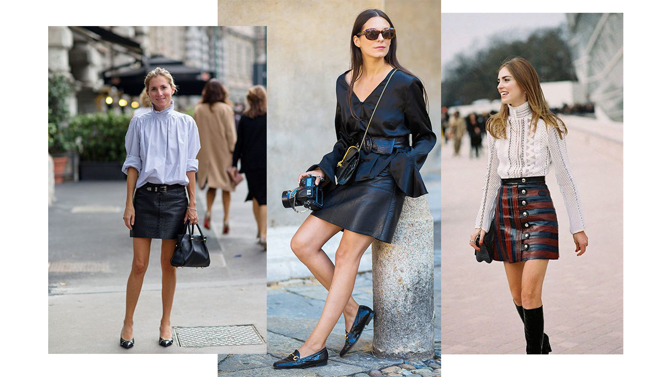 street style blouse with mini skirt