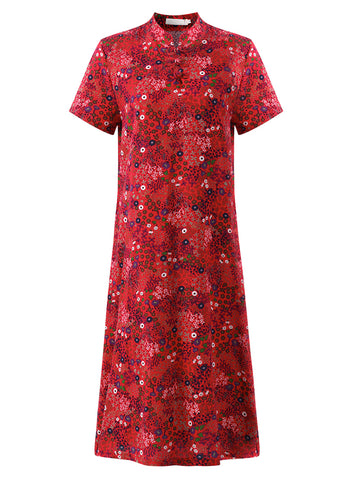 Madame Noy Robe Asiatique nouvelle collection Femme Modern Style Floral Printed Red / XL Madame Noy | Mode, Lifestyle & Déco | Thaï | Lao | Khmer | Viet