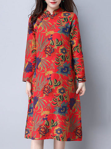 Madame Noy Robe Asiatique nouvelle collection Femme Modern Style Floral Printed Long Sleeve Red / XL Madame Noy | Mode, Lifestyle & Déco | Thaï | Lao | Khmer | Viet