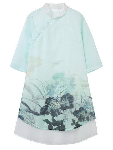 Madame Noy Robe Asiatique nouvelle collection Femme Modern Style Flower Printed Light Green / XS Madame Noy | Mode, Lifestyle & Déco | Thaï | Lao | Khmer | Viet