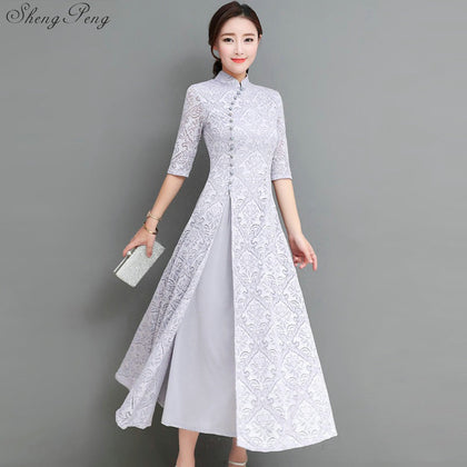 Madame Noy Collection Qipao Cheongsam printemps new generation casual moderne white gris  Madame Noy | Mode, Lifestyle & Déco | Thaï | Lao | Khmer | Viet