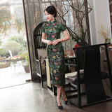 Madame Noy Traditionnel Robe Qipao Femme Cheongsam Ladies Style Qipao Silm Short Sleeve Novelty Long Dress Green / XXXL Madame Noy | Mode, Lifestyle & Déco | Thaï | Lao | Khmer | Viet