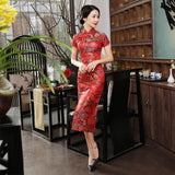 Madame Noy Traditionnel Robe Qipao Femme Cheongsam Ladies Style Qipao Silm Short Sleeve Novelty Long Dress Bright Red / XXXL Madame Noy | Mode, Lifestyle & Déco | Thaï | Lao | Khmer | Viet
