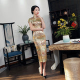 Madame Noy Traditionnel Robe Qipao Femme Cheongsam Ladies Style Qipao Silm Short Sleeve Novelty Long Dress Gold / XXXL Madame Noy | Mode, Lifestyle & Déco | Thaï | Lao | Khmer | Viet