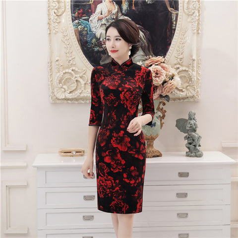 Madame Noy Robe Asiatique new collection Qipao Cheongsam Femme Modern Style Red Floral Black Velvet  Madame Noy | Mode, Lifestyle & Déco | Thaï | Lao | Khmer | Viet