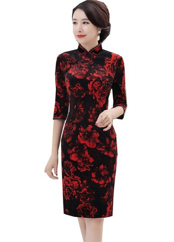 Madame Noy Robe Asiatique new collection Qipao Cheongsam Femme Modern Style Red Floral Black Velvet Black / 4XL Madame Noy | Mode, Lifestyle & Déco | Thaï | Lao | Khmer | Viet