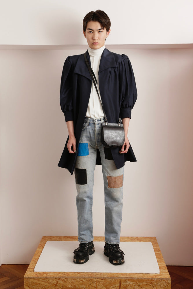 D&G LEATHER PATCH DENIM PANTS