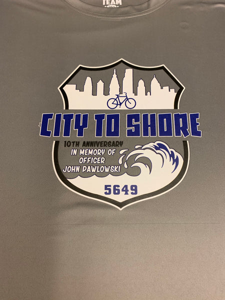 Officer John Pawlowski city to shore bike ride dri fitshirt