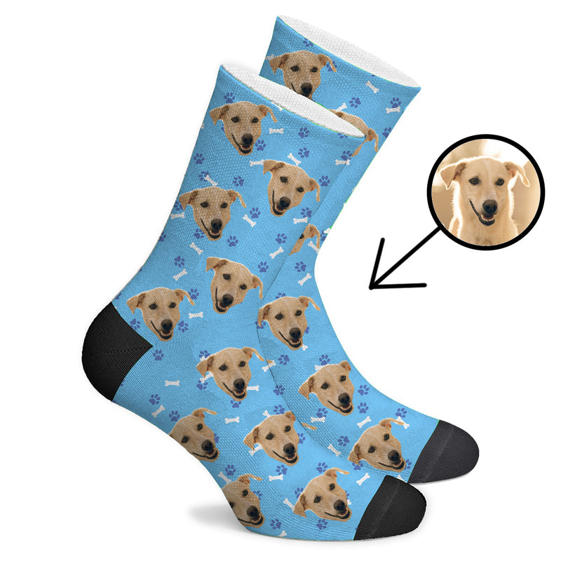 Custom Face Socks Pink Dog Face