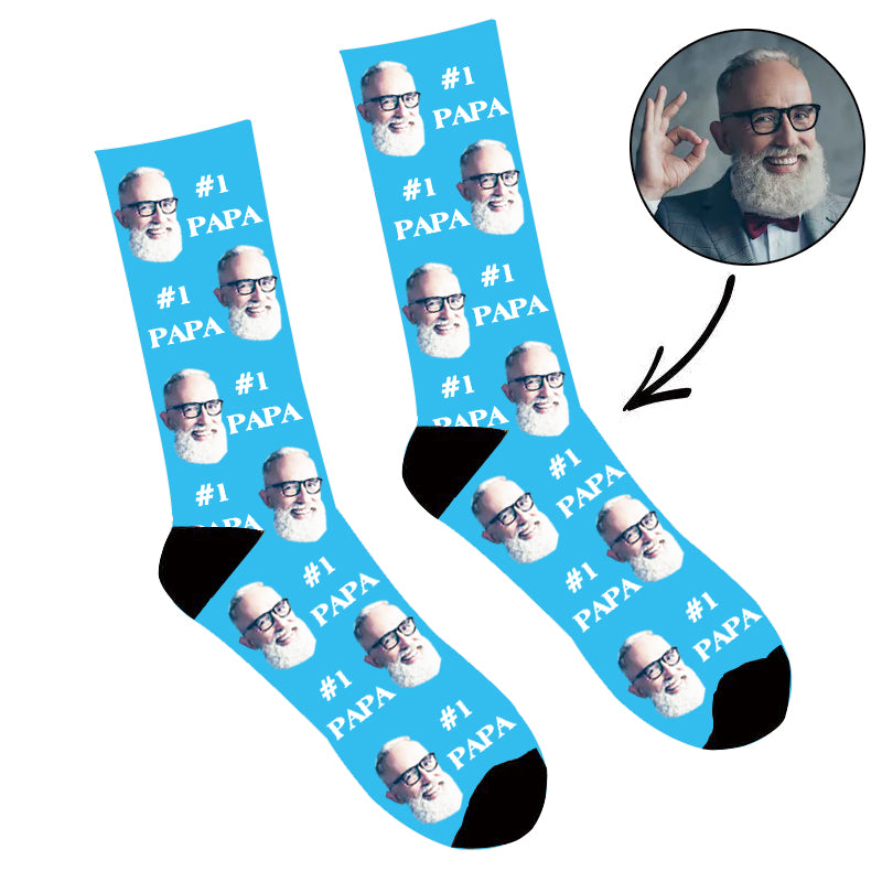 Father's Day Custom Photo Face Socks #1 Papa