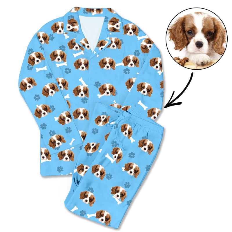 Custom Photo Pajamas Dog Footprint Blue - Make Custom Gifts