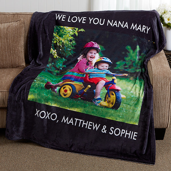 Personalized Fleece Photo Blanket- 1 Photo - Make Custom Gifts
