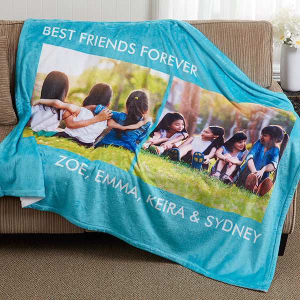 Personalized Fleece Photo Blanket- 2 Photo - Make Custom Gifts
