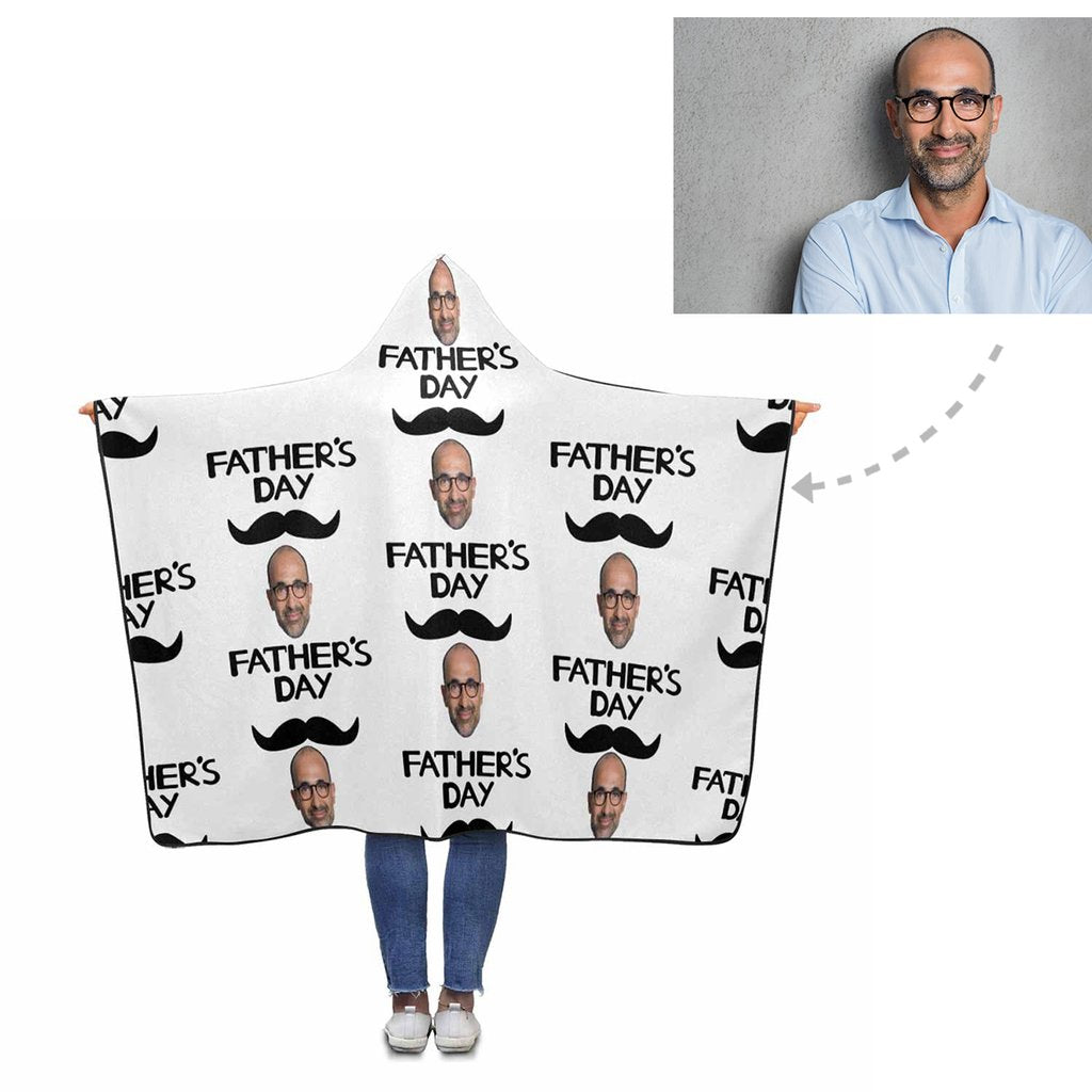Custom Face Father's Day Hooded Blanket - Make Custom Gifts