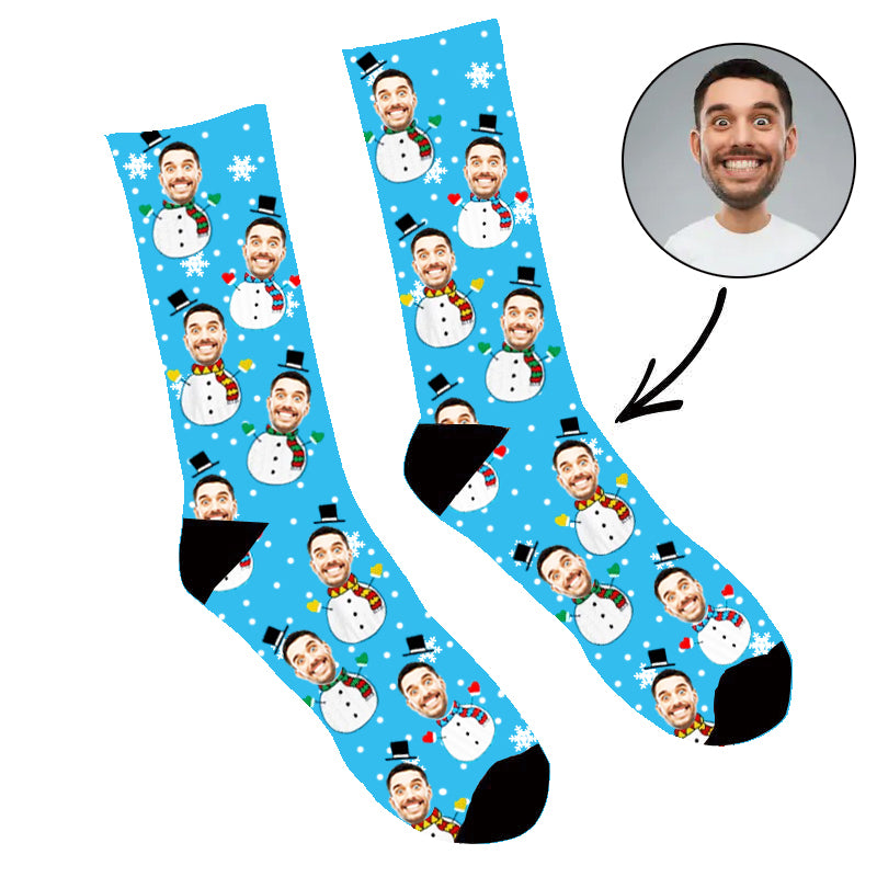 Custom Face Socks Snowman Photo Socks - Make Custom Gifts