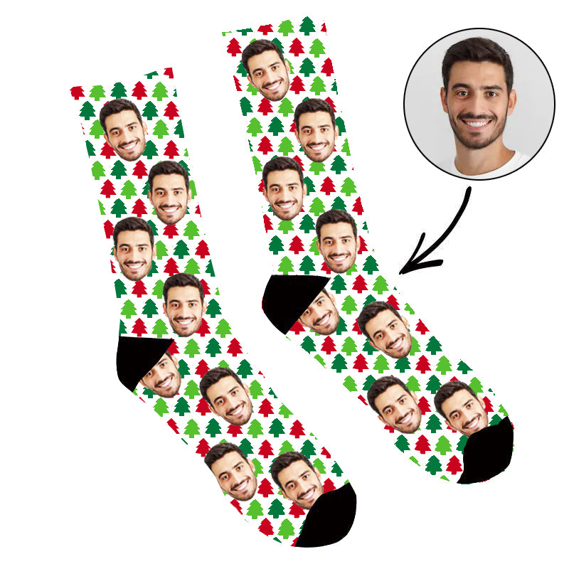 Custom Face Socks Christmas Trees Socks - Make Custom Gifts