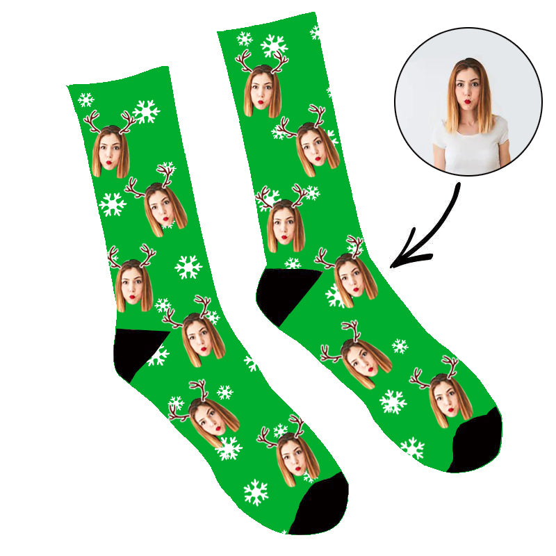 Custom Face Socks Reindeer Me Christmas Socks - Make Custom Gifts