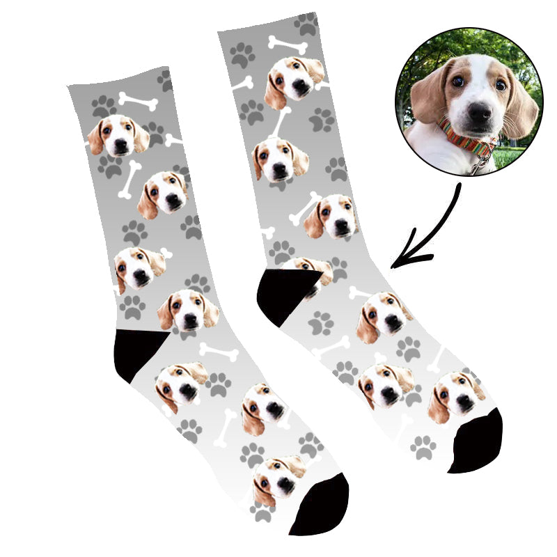Custom Face Socks Gradient Dog Footprint Grey - Make Custom Gifts