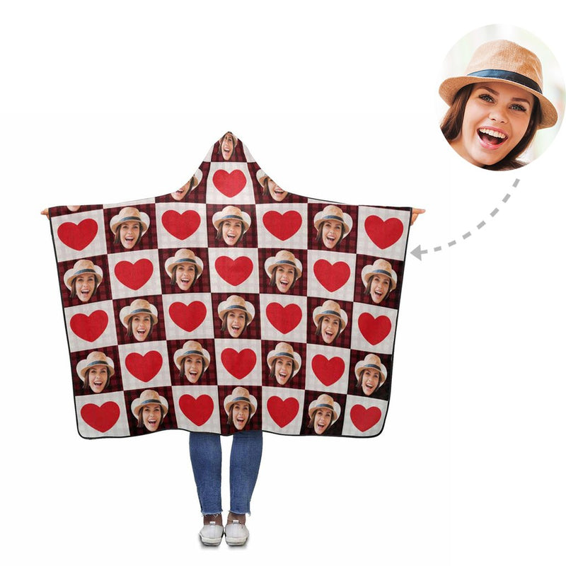 Custom Mother's Day Love Heart Hooded Blanket