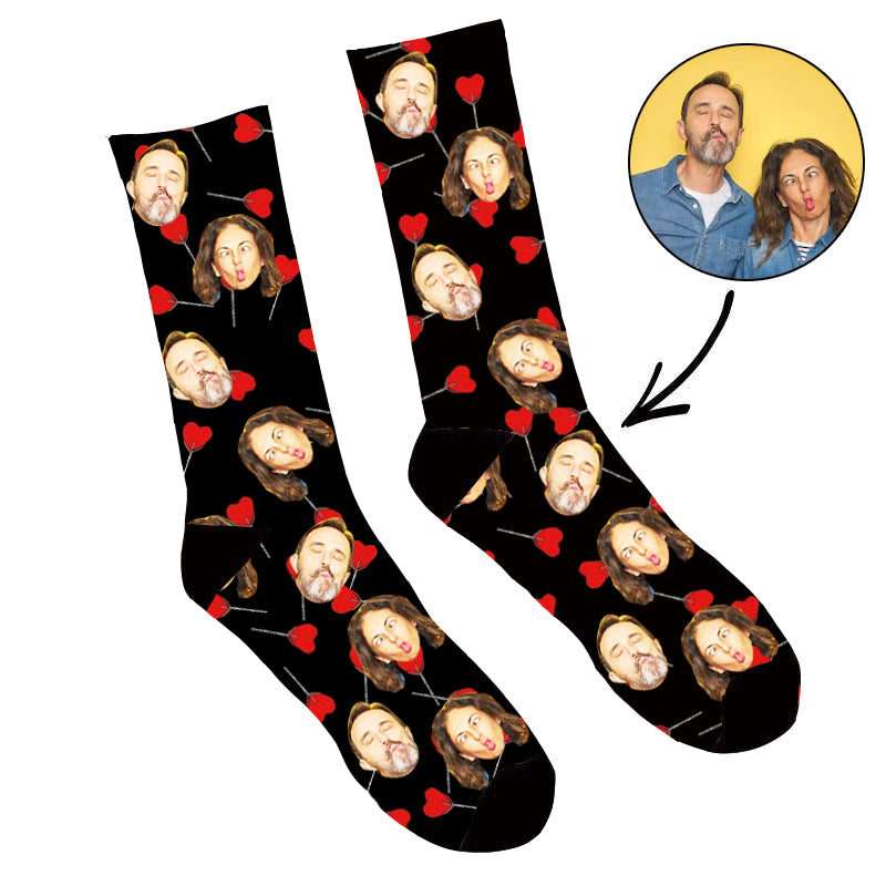 Custom Face Socks Heart Lollipops Socks - Make Custom Gifts