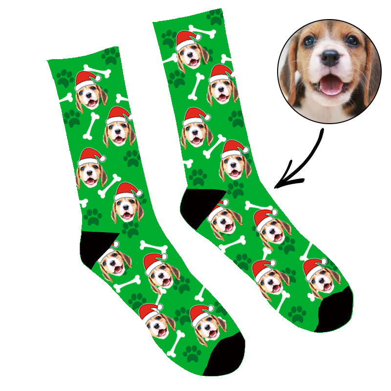 Custom Face Socks Santa My Dog Socks - Make Custom Gifts