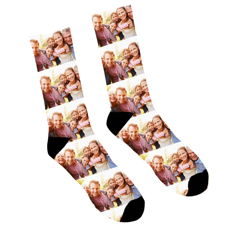 Custom Grey Heart Face Socks Photo Socks