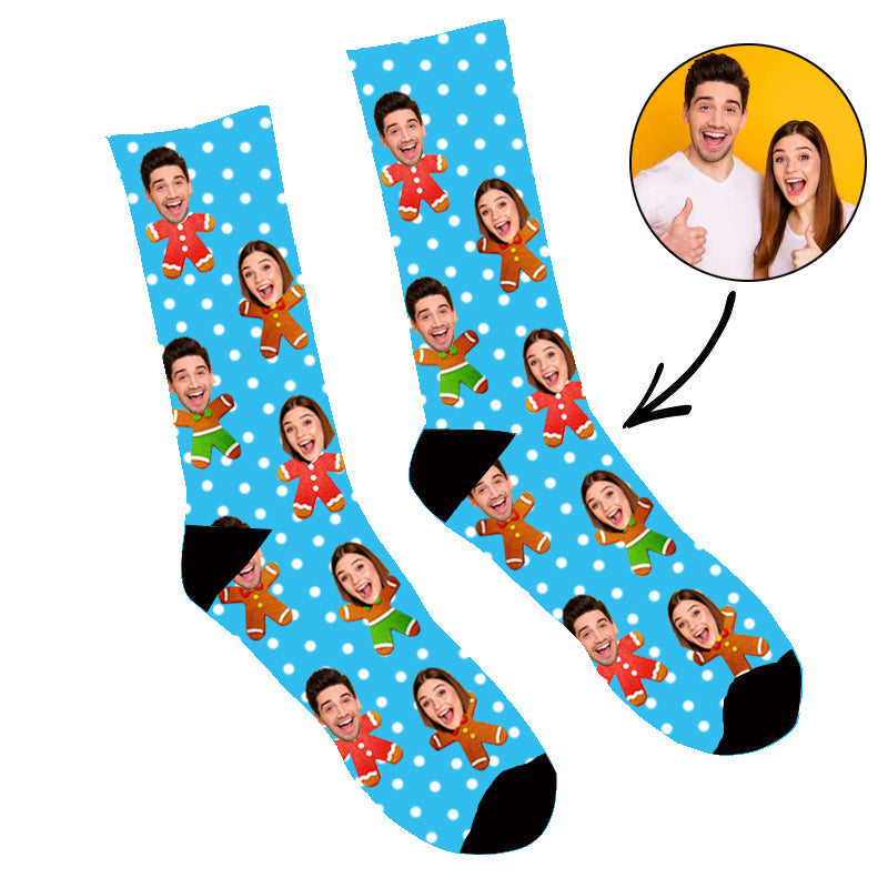 Custom Face Socks Gingerbread Me Socks - Make Custom Gifts