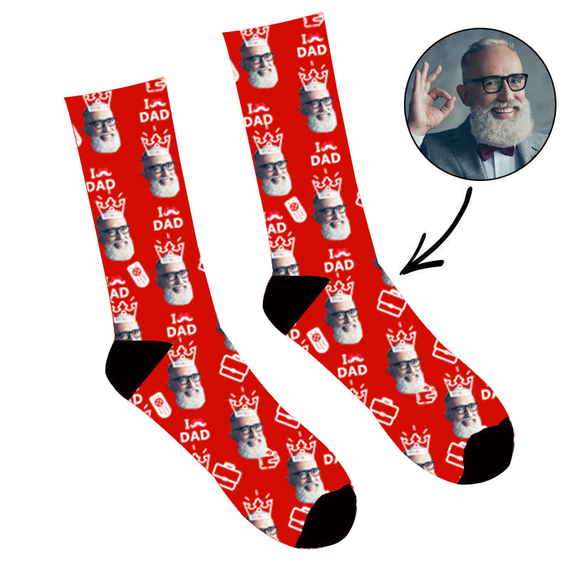 Father's Day Custom Photo Face Socks I Love Dad
