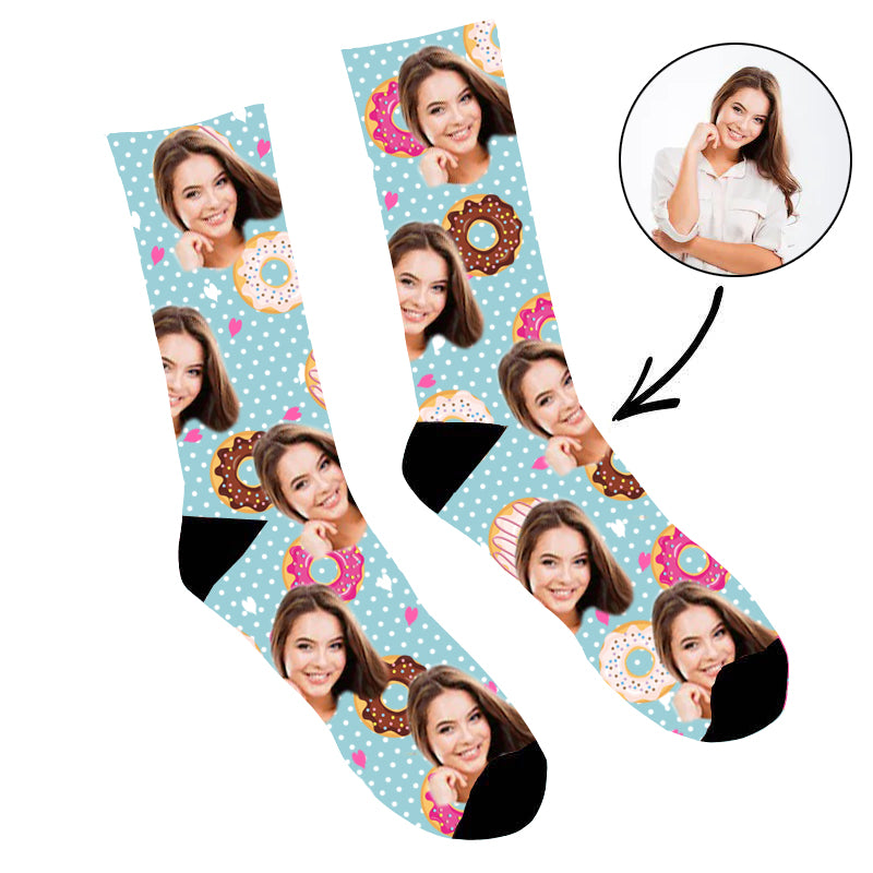 Custom Face Socks Cute Donuts Socks - Make Custom Gifts