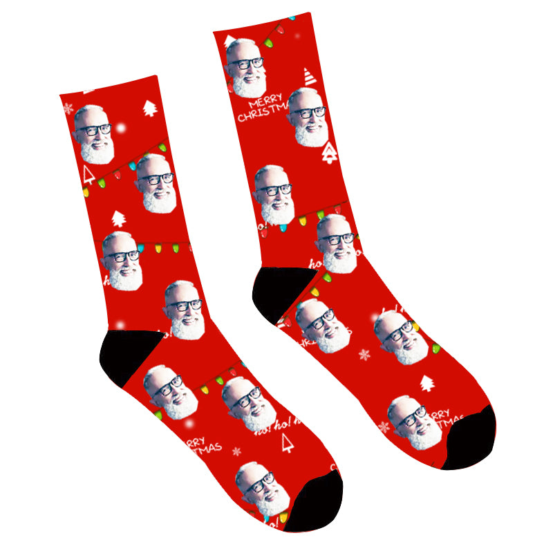 Father's Day Custom Photo Face Socks Merry Christmas