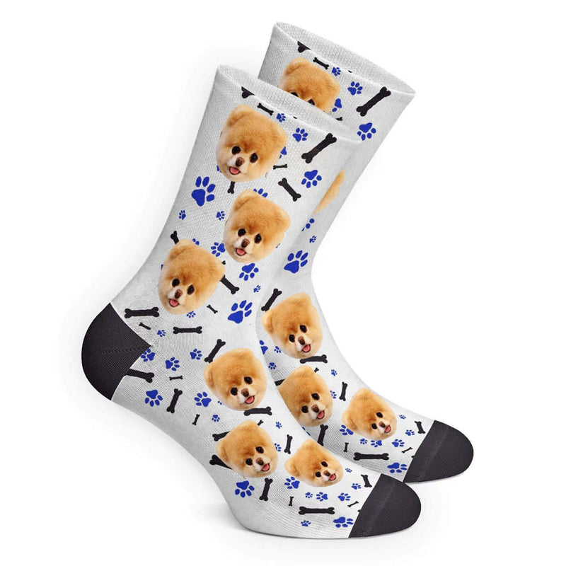 Custom Face Socks Gradient Dog Footprint Grey