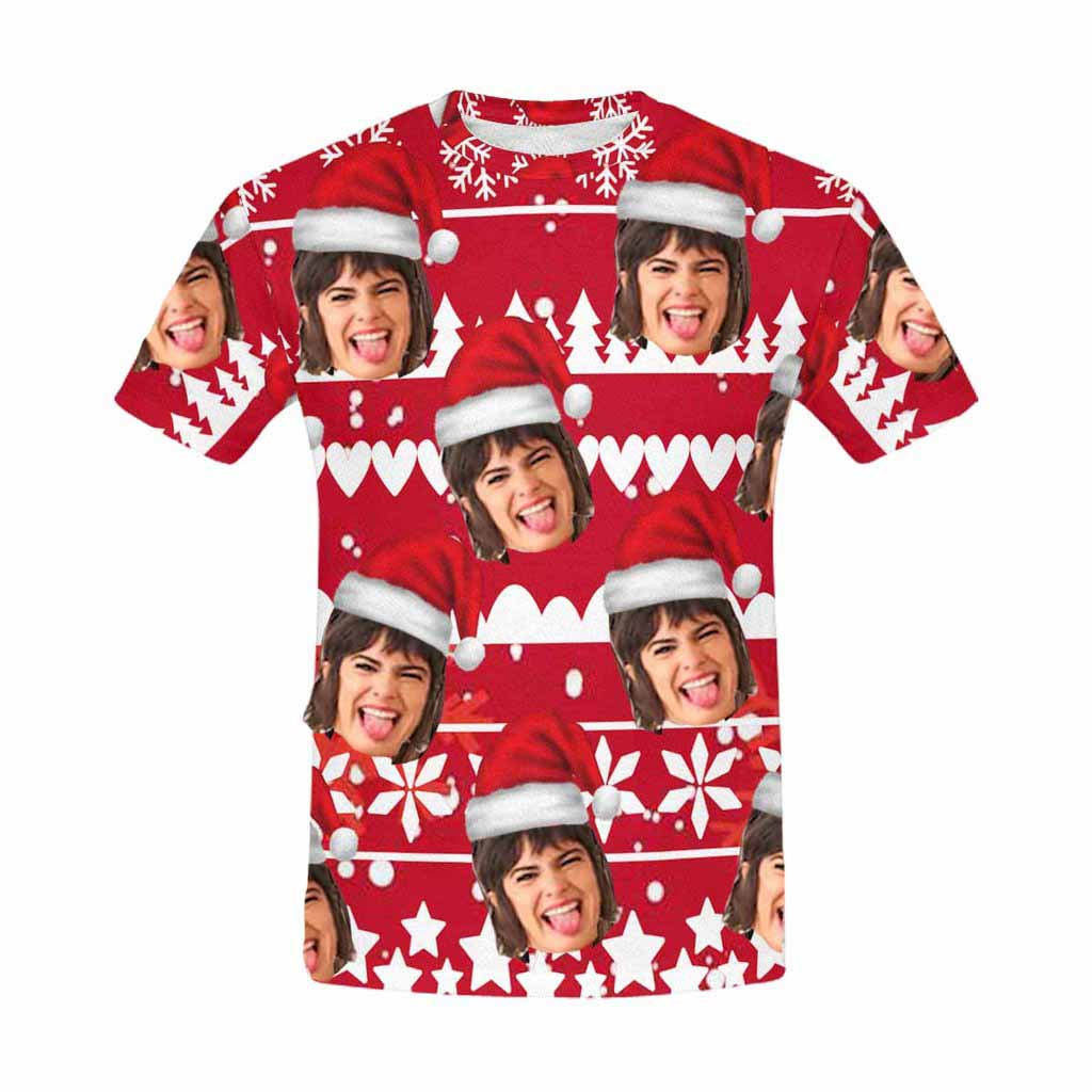 Custom Face Shirt Photo Christmas Red Print Men Shirt - Make Custom Gifts