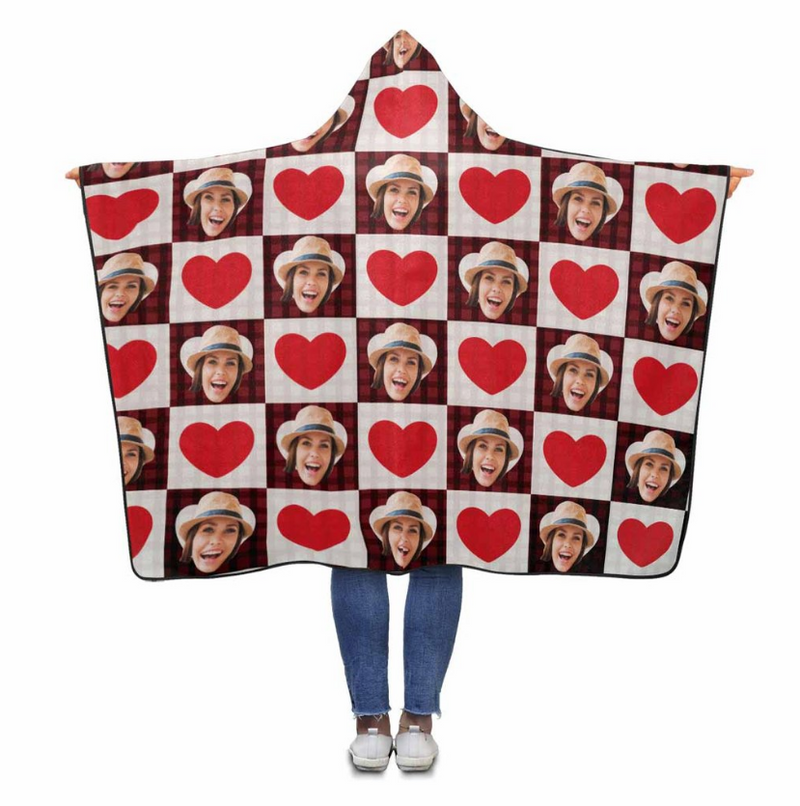 Custom Face Love Heart Hooded Blanket - Make Custom Gifts