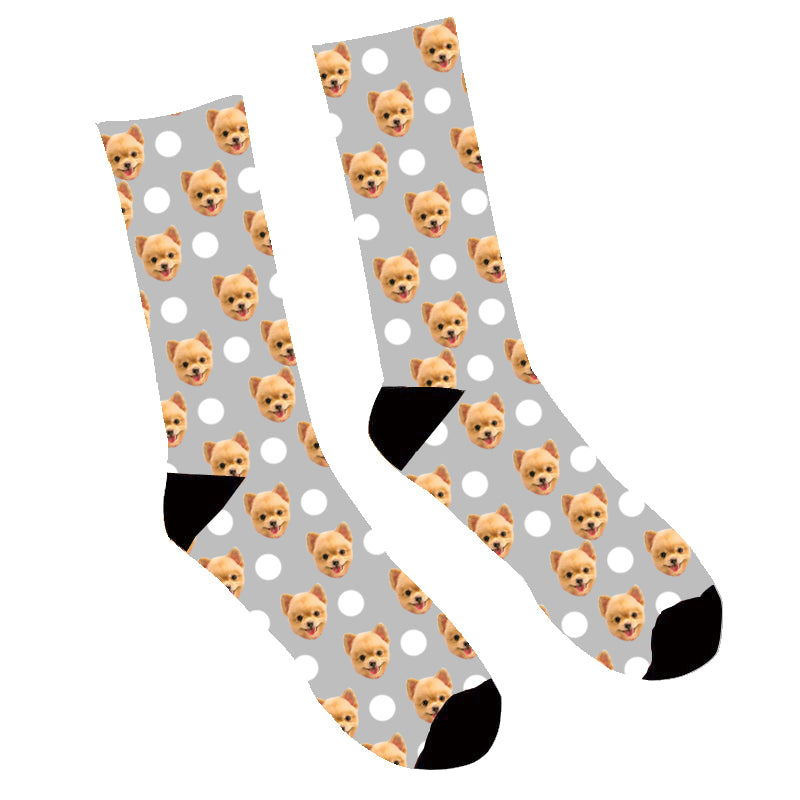 Custom Face Socks Polka Dog Socks - Make Custom Gifts
